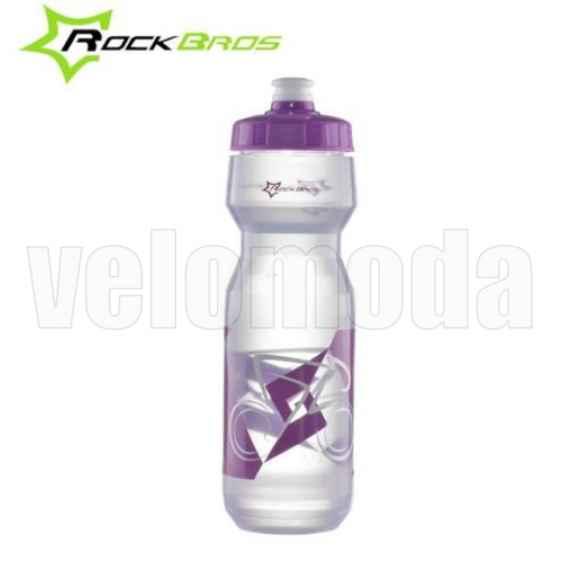 Бутылка для воды на велосипед RockBros 750мл полипропилен (фиолетовая-прозрачная)