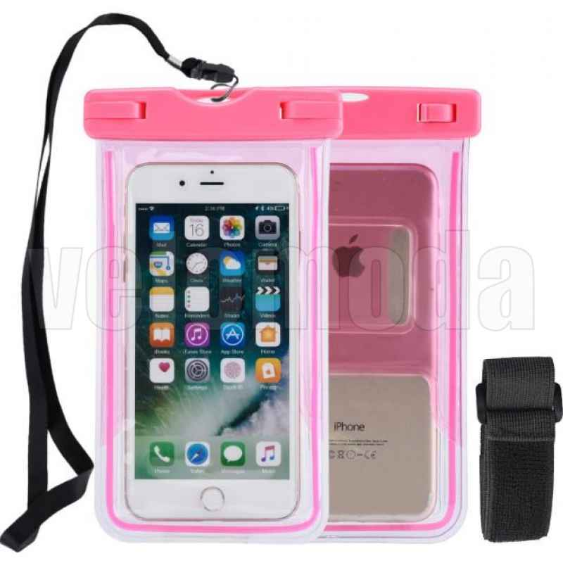 Водонепроницаемый чехол для смартфона 17.5 см x 10.5 см (розовый)