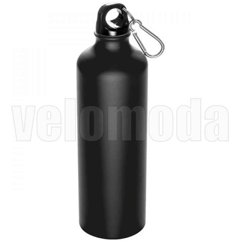 Фляга для воды алюминиевая с карабином 800мл (Черная)