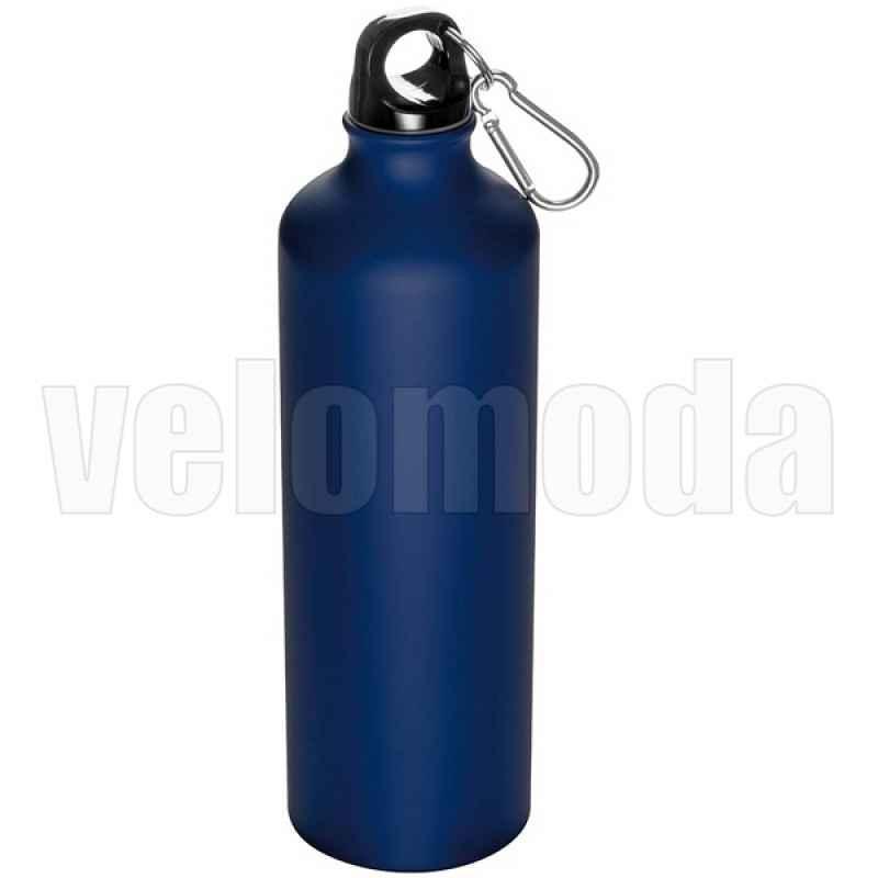 Фляга для воды алюминиевая с карабином 800мл (Синяя)