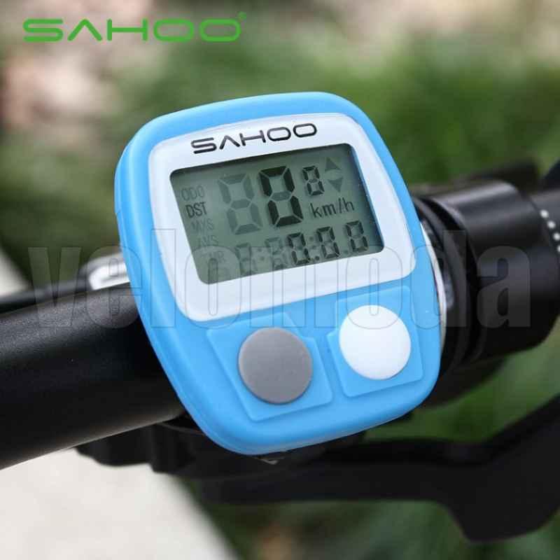 Велокомпьютер Sahoo 14 функций, проводной (синий, красный, салат, белый)
