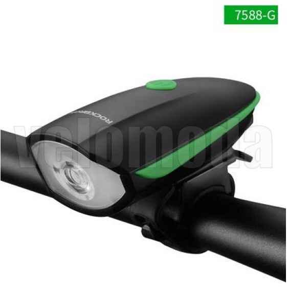 Велофонарь RockBros 7588 250 люмен + звонок 120dB аккумуляторный (зеленый)