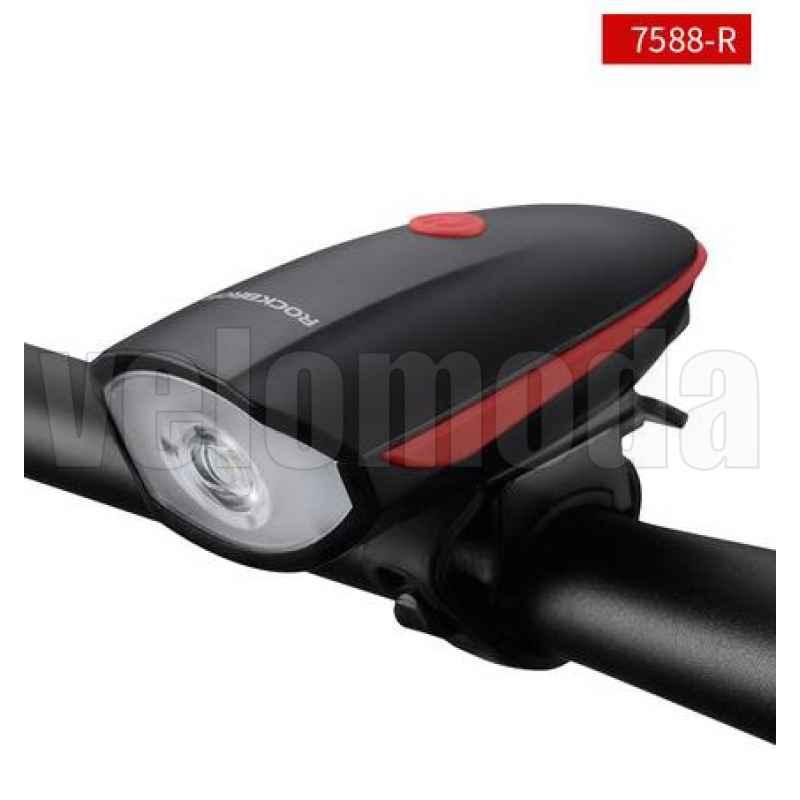 Велофонарь RockBros 7588 250 люмен + звонок 120dB аккумуляторный (красный)