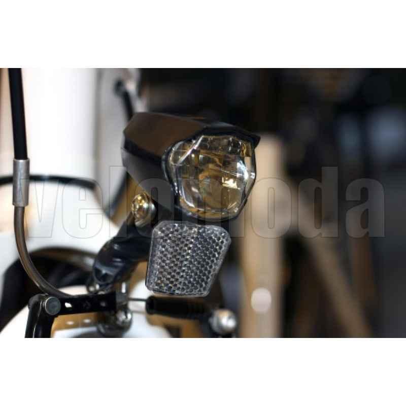 Велофара передняя 2K под динамку, датчик сумерек, стояночный свет