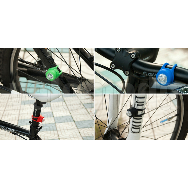 Маячок для велосипеда 2шт Лягушка силиконовый (синий/красный/белый)