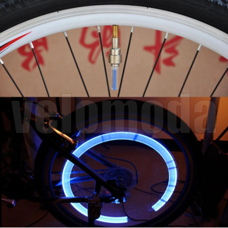 Светящийся колпачок на ниппель для велосипеда (синий) 2шт