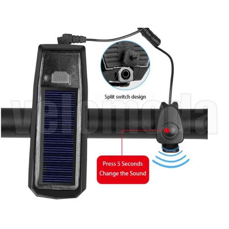 Фонарь RockBros HJ-052 на солнечных батареях + звонок (черный)