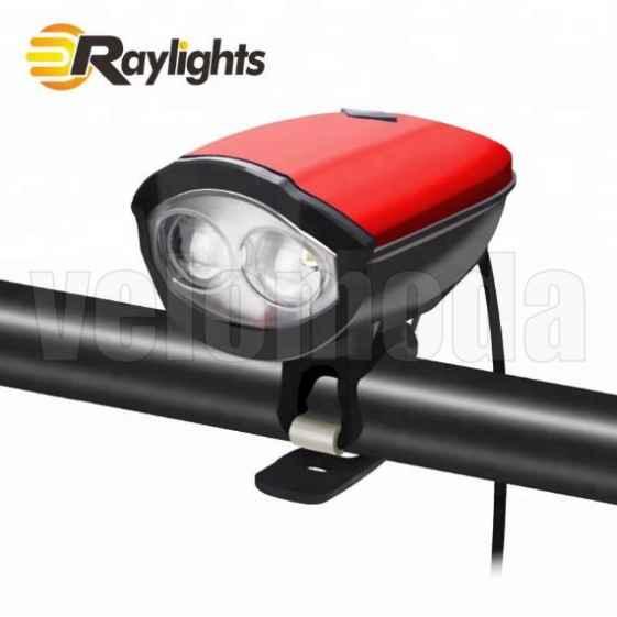 Фонарь велосипедный HJ046 500lm, 1200 mAh, звонок 120db (Красный)