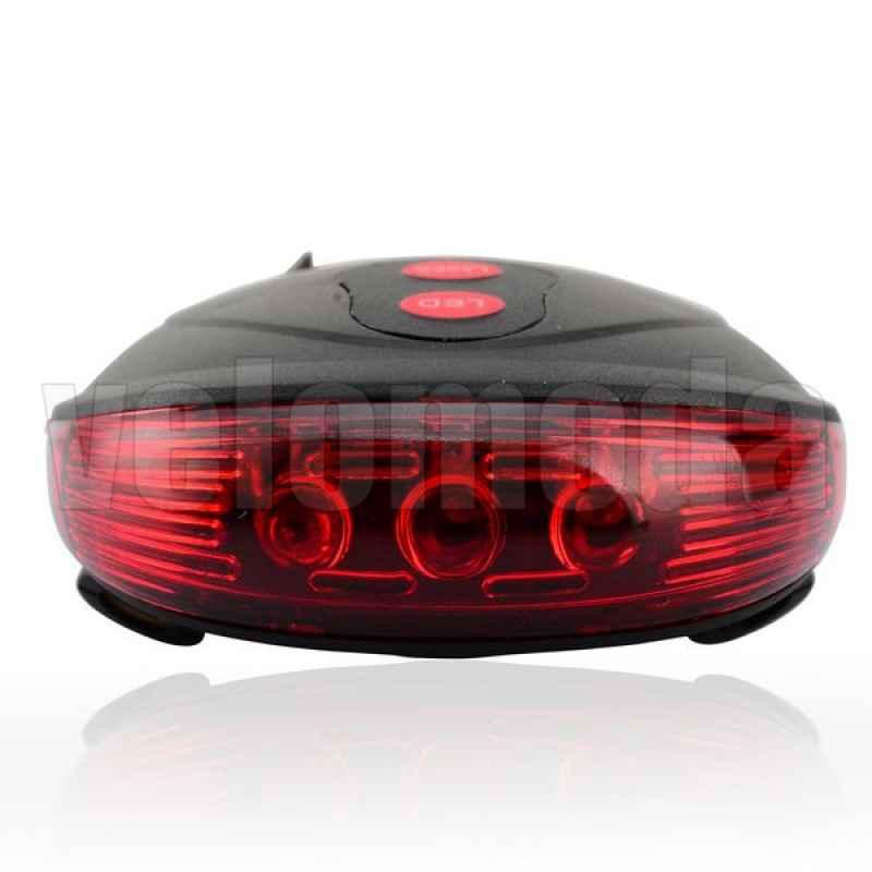 Велофонарь задний с лазерными дорожками (красный)