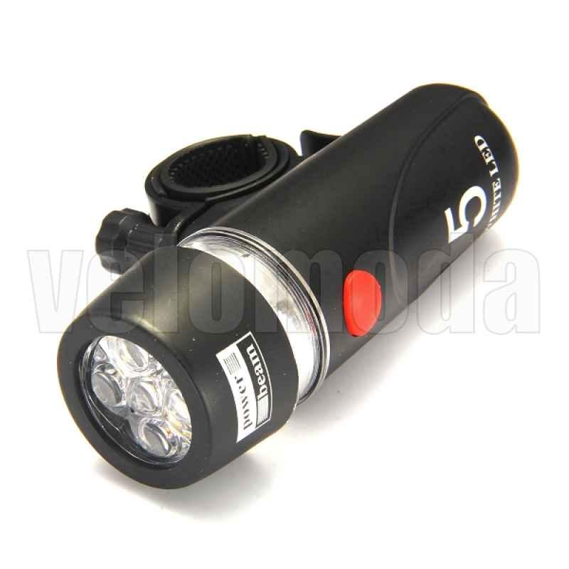 Передний фонарь 5 led + задний маяк + крепления