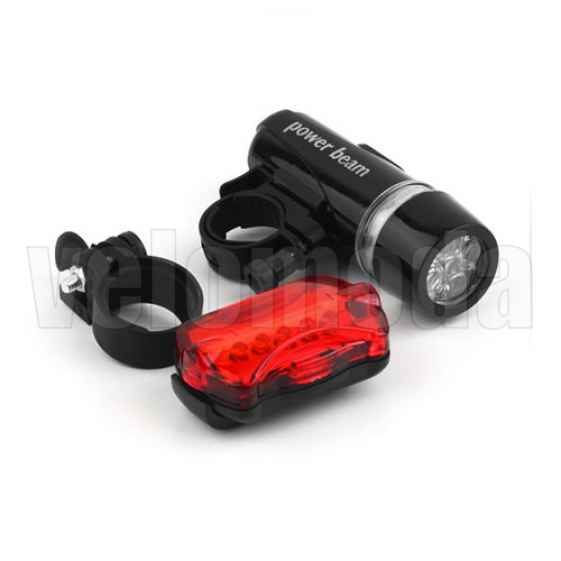 Фонарь велосипедный передний 5 led + задний габарит 5 led (с креплением)