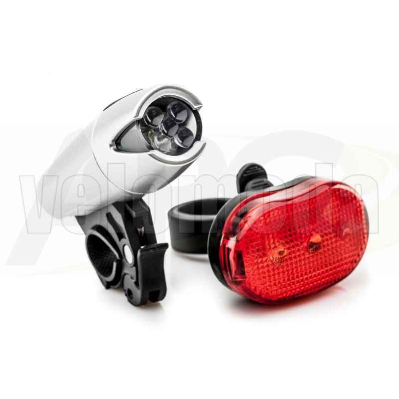 Комплект освещения для велосипеда фара + габарит XC-8008 (серый)