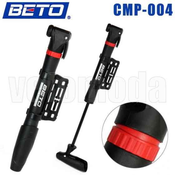 Велосипедный насос Beto мини с креплением (красный)