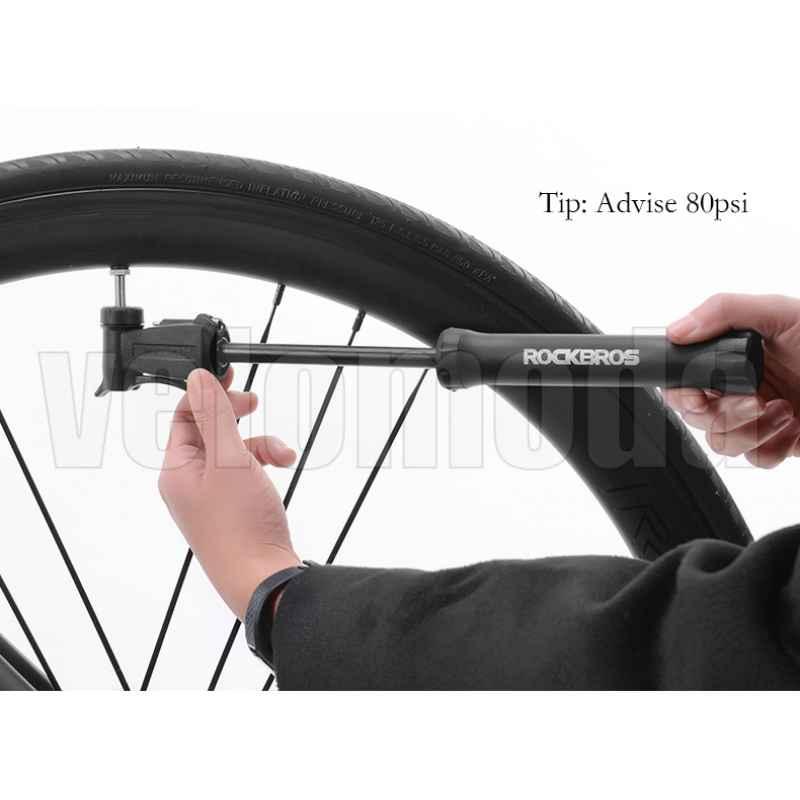 Велосипедный насос Rockbros 1701 двухходовой с иглой для мяча и креплением