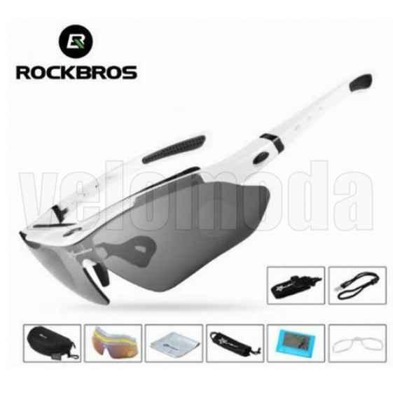 Очки велосипедные RockBros 10001 с диоптриями UV400 Polarized (белые)
