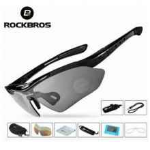 Очки велосипедные RockBros 10001 с диоптриями UV400 Polarized (черные)