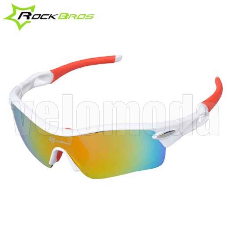 Очки велосипедные RockBros 10005 с диоптриями UV400 Polarized (белые-красные)