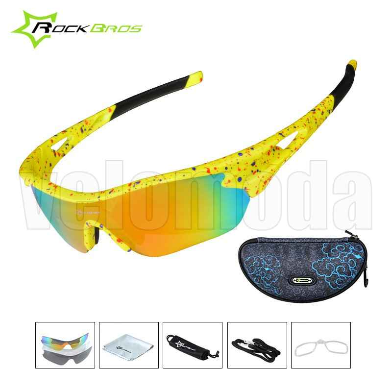 Очки велосипедные RockBros 10045 с диоптриями UV400 Polarized (желтые)