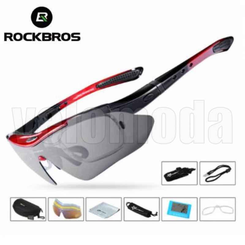 Очки велосипедные RockBros 10001 с диоптриями UV400 Polarized (красные)