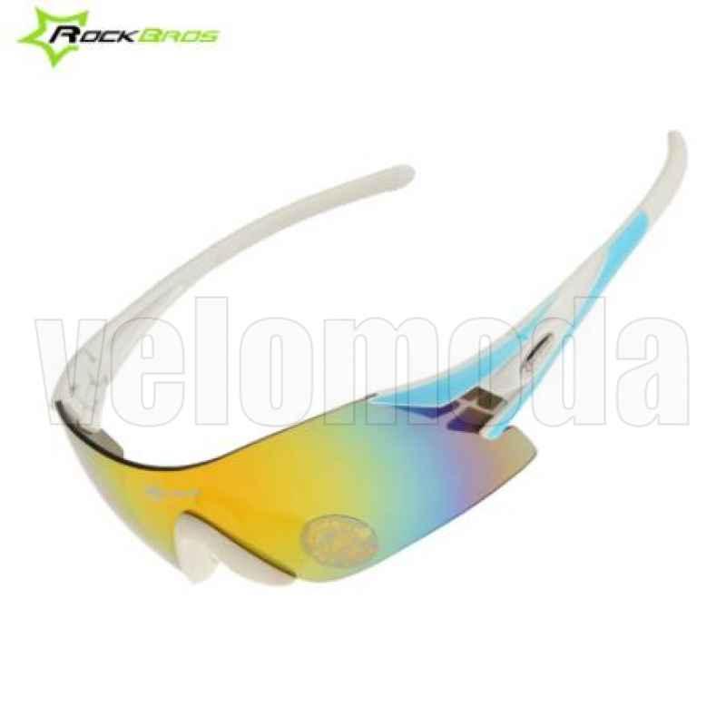 Очки велосипедные RockBros 10019 UV400 Polarized (белые-бирюза)