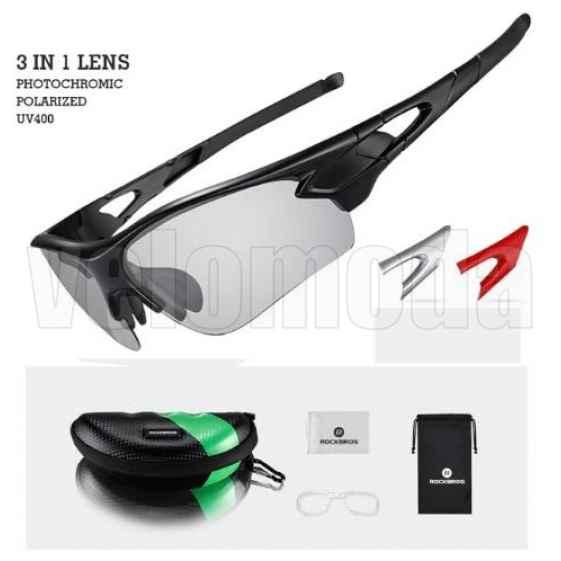 Очки велосипедные RockBros 10070 с диоптриями, фотохромные (Черный)