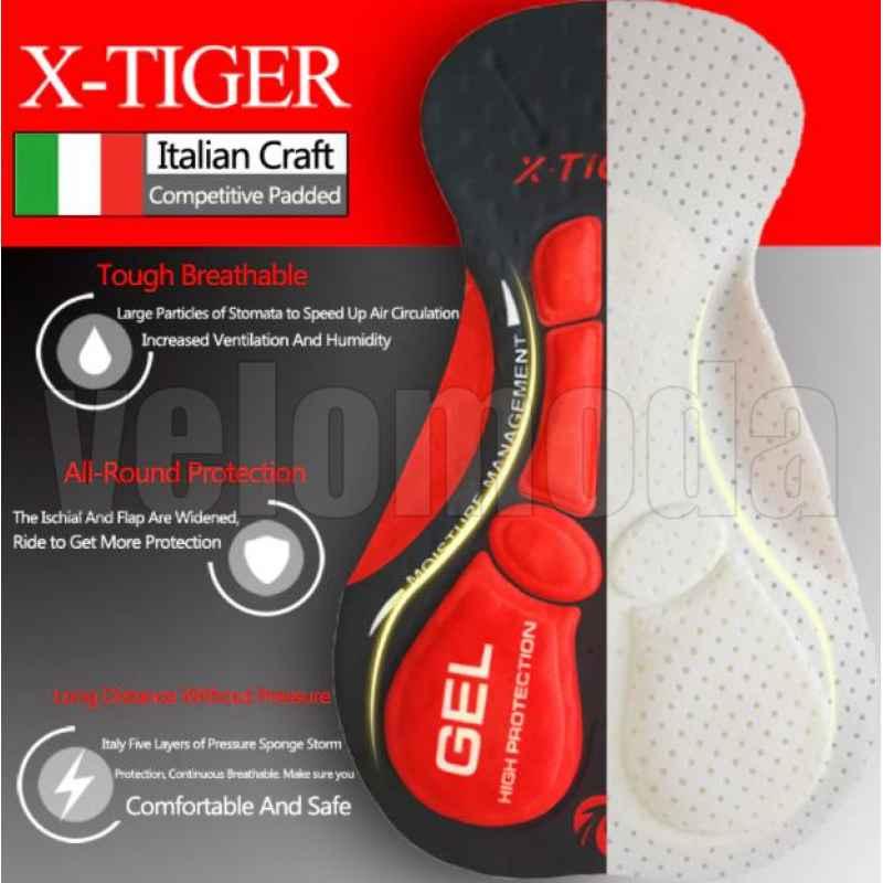 Велоштаны с гелевым памперсом мужские X-Tiger CBK501 размер XXL (Красный)