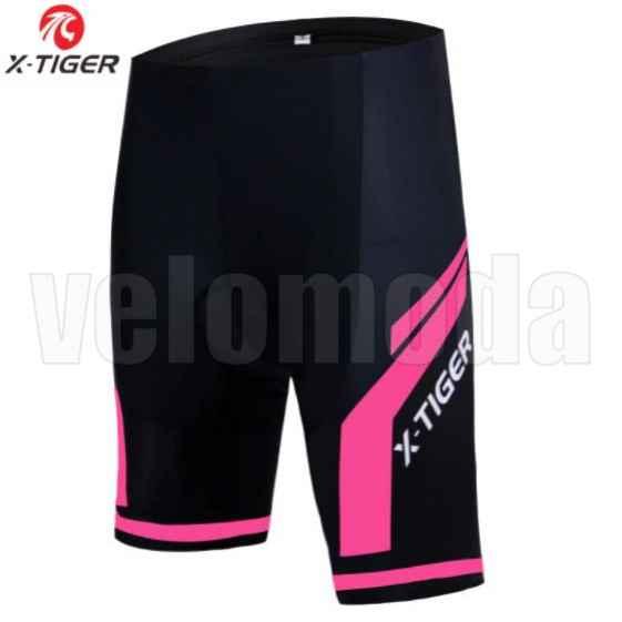 Велошорты с гелевым памперсом женские X-Tiger DK1303 размер XL (Черный-розовый)