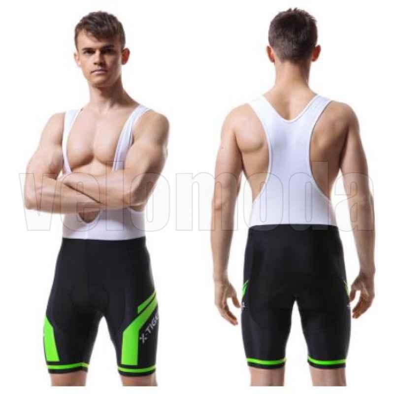 Велошорты с гелевым памперсом и лямками мужские X-Tiger DBK504 размер M (Зеленый)