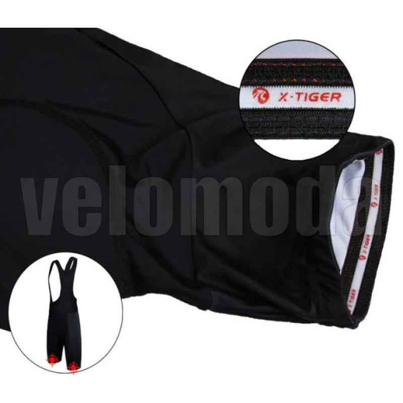 Велошорты с лямками и гелевым памперсом мужские X-Tiger DBK101 размер XL (Черный)