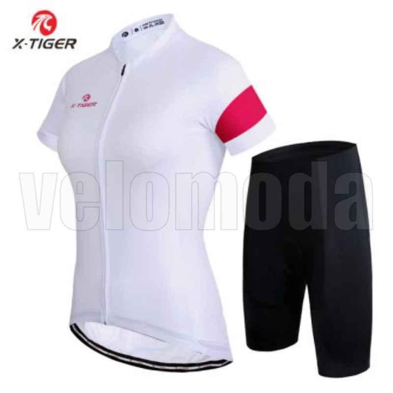 Велоформа женская X-Tiger DT1908 шорты с памперсом + футболка короткий рукав, размер L (Черный-белый)