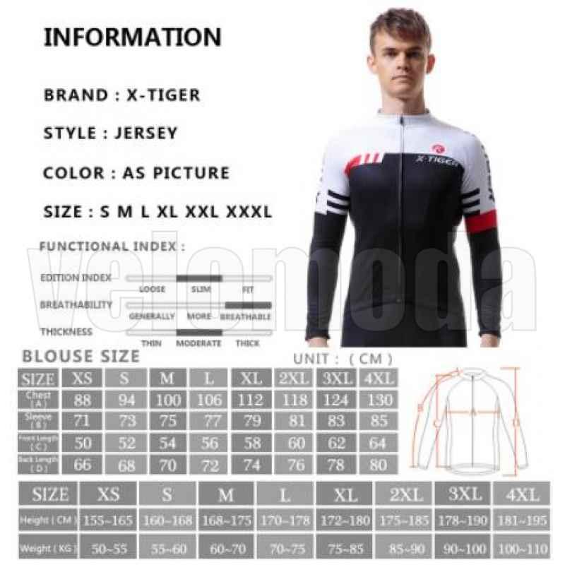 Велофутболка с длинным рукавом мужская X-Tiger CY2301 размер XXL (Черный-белый)