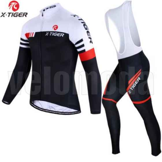 Велоформа мужская X-Tiger CBT2301 штаны с памперсом и лямками + футболка длинный рукав, размер XL (Красный-черный)