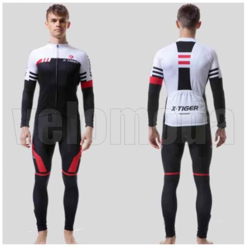 Велоформа мужская X-Tiger CBT2301 штаны с памперсом и лямками + футболка длинный рукав, размер L (Красный-черный)