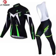 Велоформа мужская X-Tiger CBT1301 штаны с памперсом и лямками + футболка длинный рукав, размер XXXL (Зеленый-черный)