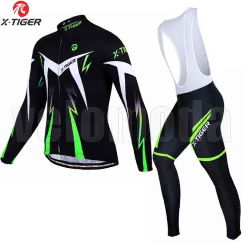 Велоформа мужская X-Tiger CBT1301 шорты с памперсом и лямками + футболка длинный рукав, размер XXXL (Зеленый-черный)