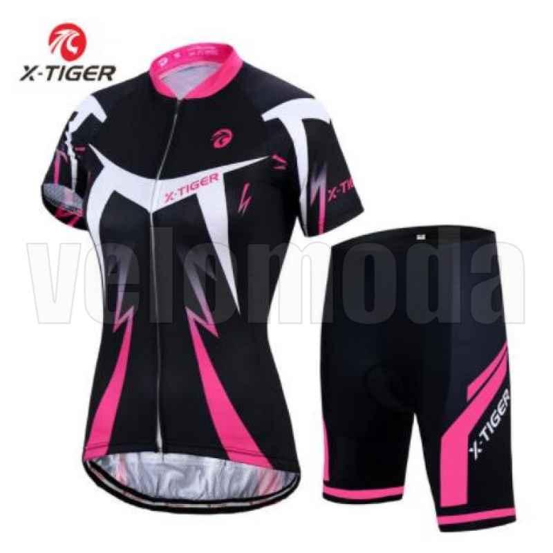 Велоформа женская X-Tiger DT1303 шорты с памперсом + футболка короткий рукав, размер M (Черный-розовый)