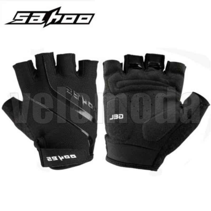 Велоперчатки Sahoo 41914 с гелевыми вставками дышащие (Черные)