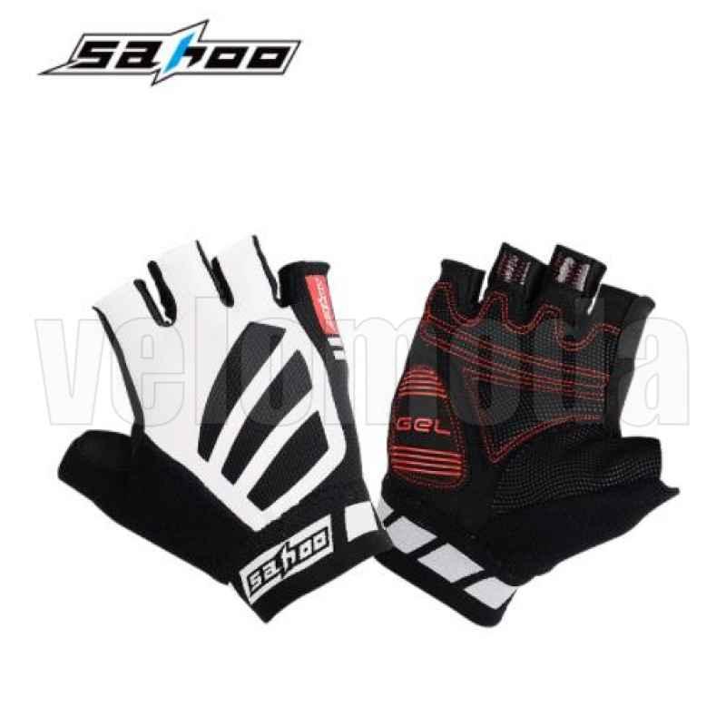 Велоперчатки Sahoo 411312 с гелевыми вставками дышащие (Белый-черный)