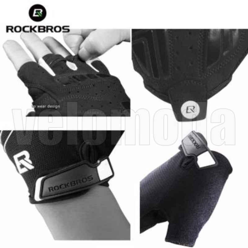 Велоперчатки Rockbros S107 Spider L с гелевыми вставками дышащие (Черный-белый)