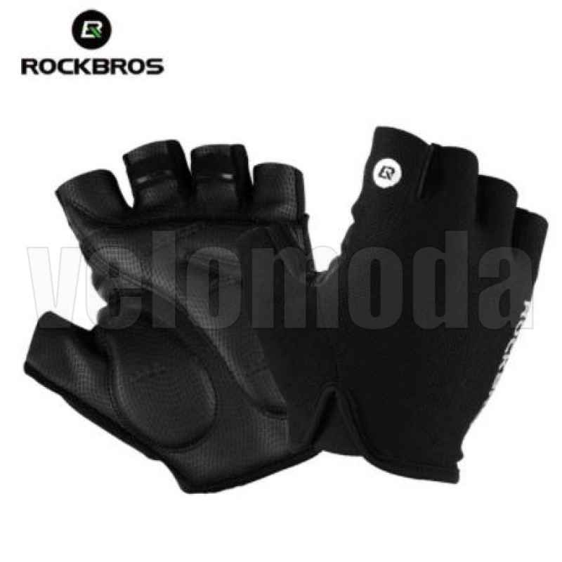 Велоперчатки Rockbros S106 XL с гелевыми вставками дышащие (Черные)