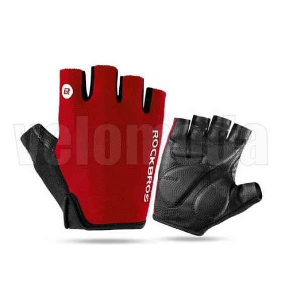 Велоперчатки Rockbros S106 S с гелевыми вставками дышащие (Красные)