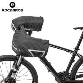 Велоперчатки Rockbros S077 XL утепленные, для тачскринов (Черные)
