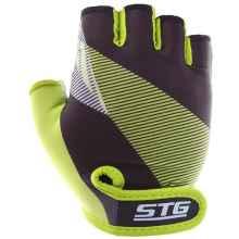 Перчатки STG X87911 L с гелем (Черный-салатовый)