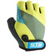Перчатки STG X87910 XL с гелем (Черный-салатовый-синий)