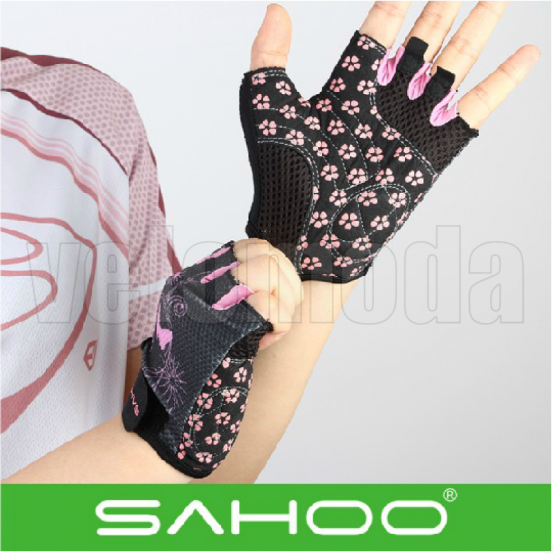 Велоперчатки Sahoo дышащие (Розовый узор)