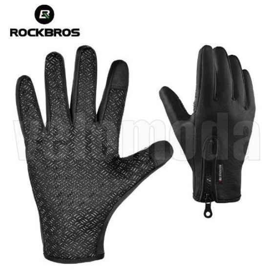 Велоперчатки Rockbros S077 M утепленные, для тачскринов (Черные)