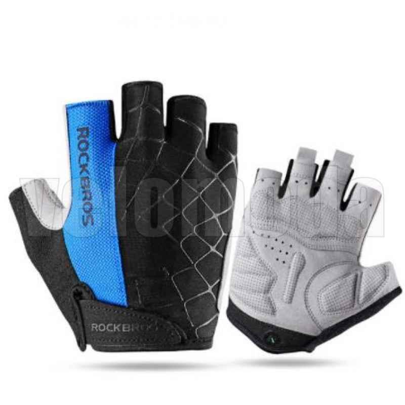 Велоперчатки Rockbros S109 Spider M с гелевыми вставками дышащие (Синие)