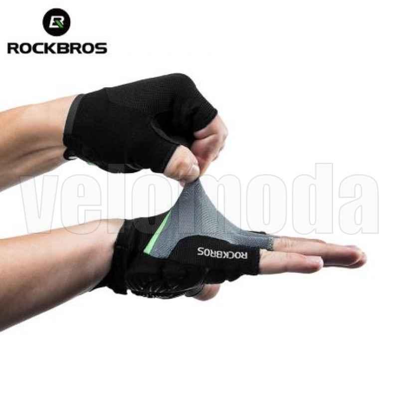 Велоперчатки Rockbros S159 XL с гелевыми вставками (Черный-зеленый)