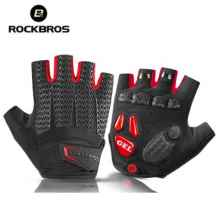Велоперчатки Rockbros S169 L с гелевыми вставками (Черный-красный)