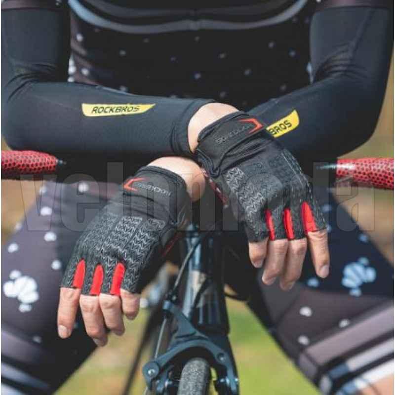 Велоперчатки Rockbros S169 XL с гелевыми вставками (Черный-красный)